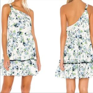 Free people floral green mini one shoulder dress